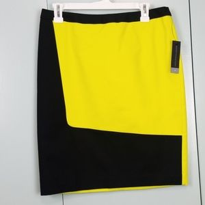 black and bright lime lined pencil skirt 8  -R1